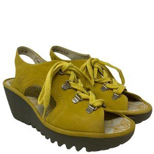 New Fly London Ylfa Lemon Yelllow Leather Lace-up Cut-out Wedge Sandals Size 38